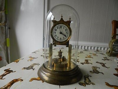 German Disc Pendulum Anniversary Clock With Glass Dome For Spares