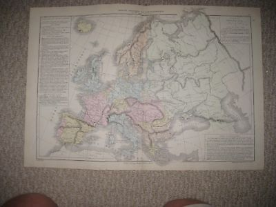 Superb Antique 1874 Europe Political Ethnic Race French Map France Russia Italy