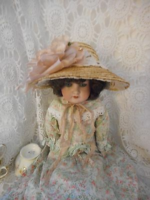Antique Style Straw Poke Bonnet For Your Doll or Bear Suit 16 To 18 inch Doll