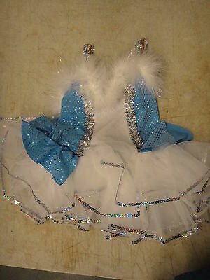 Childs dance outfit, blue white sparkly sm. child
