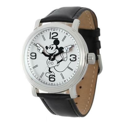 Disney Mickey Mouse Men's Vintage Watch with Black Leather Strap
