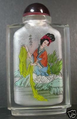 Chinese Glass Inside Painting Girl Snuff Bottle  803521
