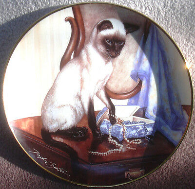 Siamese Cat & Jewelry Box Ceramic Collectible Plate Velvet Touch Daphne Baxter