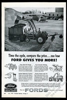 1957 Ford tractor loader photo vintage trade print ad