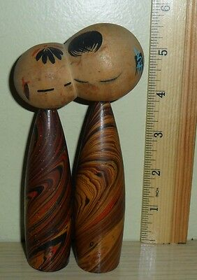 Vintage Kokeshi  Wood Doll ...  a conjoined at the head couple
