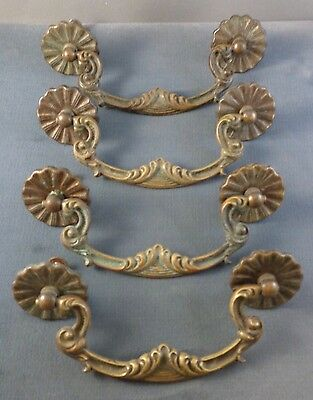 Four (4) Vintage Ornate Brass Drawer Cabinet Pulls Handles Hardware