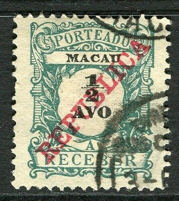 MACAU;  1911 early REPUBLICA Postage Due issue used 1/2a. value