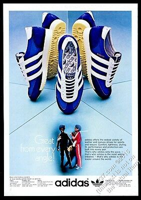 1976 Adidas Dragon blue shoes photo vintage print ad