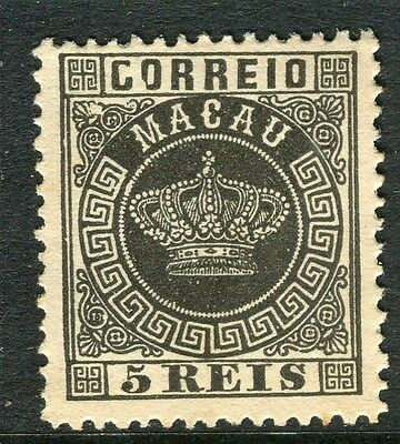 MACAU;  1884 early classic Crown Type Mint unused 5r. value