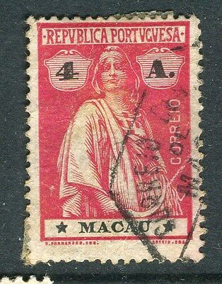 MACAU;   1913 early Ceres issue fine used 4a. value