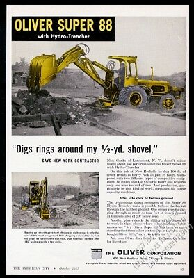 1957 Oliver tractor Super 88 and hydro trencher photo vintage trade print ad