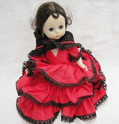 "Madame Alexander Spanish Girl Doll Traditional Red Dress 7"" Brown Sleep Eyes"