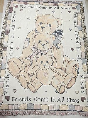 Cherished Teddies Bear Afghan Throw Friends Come in All Sizes Priscilla Hillman