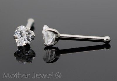 Love Heart 3Mm Clear Cz 20G Surgical Steel Womens Nose Stud Bone Nostril Pin