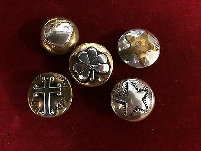 Conchos: Lot of 5. Sterling & Brass with Sterling overlay.