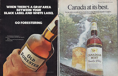 Double Sided Nov 1973 Spirits Ad Old Forester & Canadian Mist B2G1F 1400