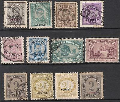 Azores Portuguese Colony 19th Century 12 diff used stamps cv $65