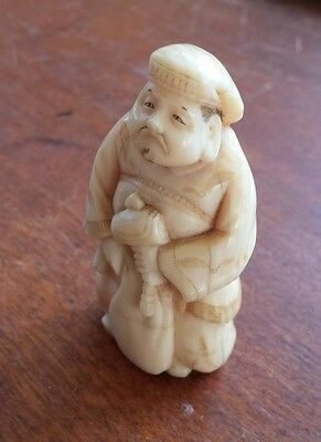 Vintage Carved Okimono Daikon Japanese Kitchen God Figurine Not Netsuke WWII