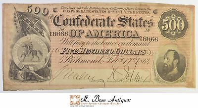 1864 $500.00 Confederate States Of America Large Size Horseblanket Note *496