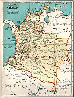 1938 Antique Map of COLOMBIA Map South America Map Gallery Wall Art #3225