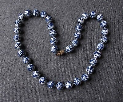 Vintage Chinese Dragon Blue & White Porcelain Hand Knotted Beads Necklace