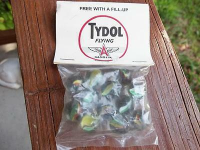Old Bag Of Tydol Flying A Gasoline Marbles Free With Fill Up 12 Cat Eye Marbles
