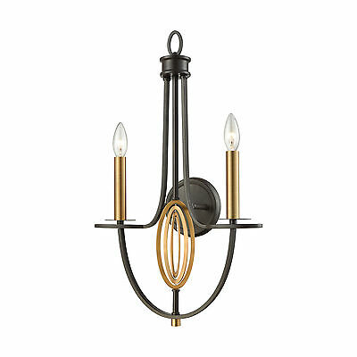 Dione 2 Light Wall Sconce Oil Rubbed Bronze With Brushed Antique Brass Accents