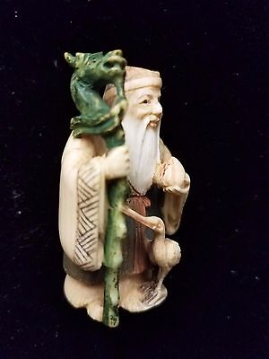 Signed Antique Netsuke Japanese Hand Carved Figure