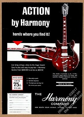 1967 Harmony H79 electric 12-string guitar photo vintage print ad