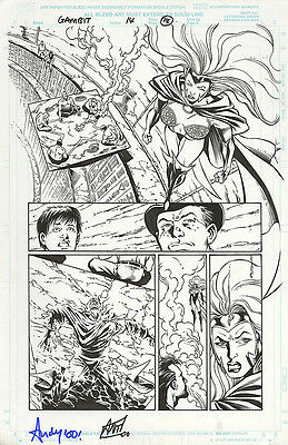 Gambit 14 ORIGINAL ART PAGE Candra 2000 Pencil & ink Gory Marvel Comics Xmen B&W