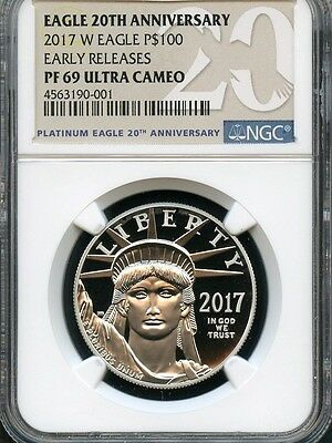 2017 W Platinum Eagle P$100 Early Releases NGC PF69 Ultra Cameo 20th Anniversary