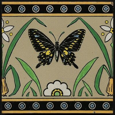 TH3067 Mintons 8x8 Aesthetic Movement Butterfly Tile (*Chr. Dresser*) Rd.1870