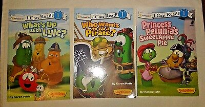 Veggie Tales I Can Read! Level 1 3 Book Lot~Excellent Condition~Fast Shipping!