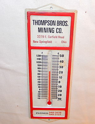 Vintage Thompson Brothers Mining Company Metal Thermometer New Springfield Ohio