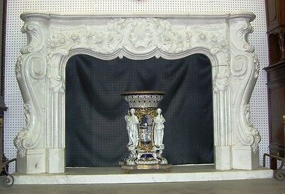 Hand Carved Carerra Marble Country French Louis XV Monumental Fireplace Mantel