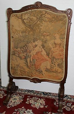 Antique French Tapestry Louis XV  Carved Walnut Fireplace Firescreen Circa 1870