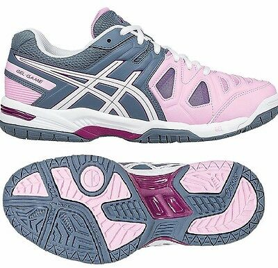 Womens Ladies asics Gel Game 5 Tennis Court Shoes Trainers Size UK 6 8 Gel-Game