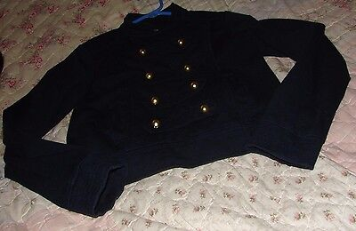 Gap Girls Size 12 Gorgeous Navy Blue Military Style Coat With Gold Trim Buttons