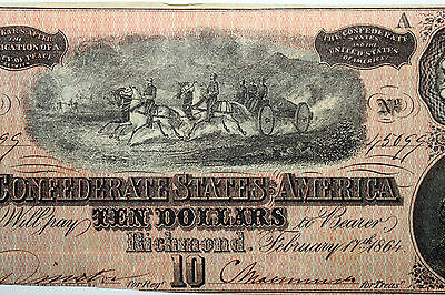 One 1864 Confederate States of America Ten Dollar Note Net Very Fine (45099)