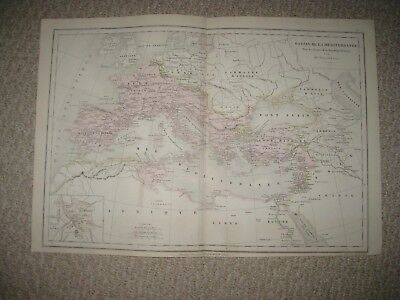 Antique 1874 Roman Empire Mediterranean Sea Europe French Map Italy Africa Rare