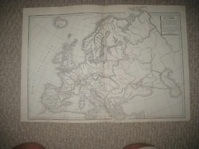 Suoerb Antique 1874 Europe Physical Geologuical Mountain French Map Germany Rare