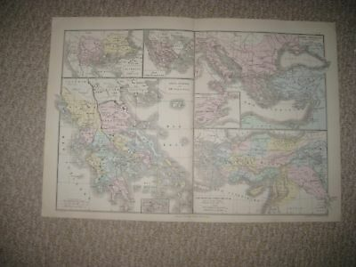 Antique 1874 Ancient Greece Asia Minor Phonecia Macedonia French Handcolored Map