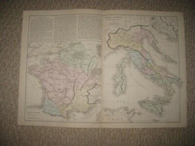 Antique 1874 Ancient Italy France Roman Empire Europe French Handcolored Map Nr