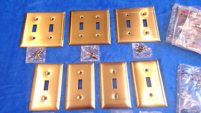 Lot of (7) Vintage Brass Single Toggle Double Toggle Light Plate Switch Covers