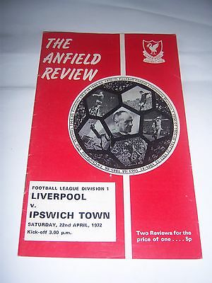 LIVERPOOL v IPSWICH TOWN 1971/72 - DIVISION 1 - FOOTBALL PROGRAMME