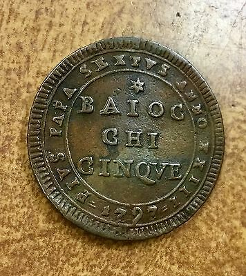 {BJSTAMPS} 1797 Vatican Papal States 5 Baiocchi  Emergency Coinage