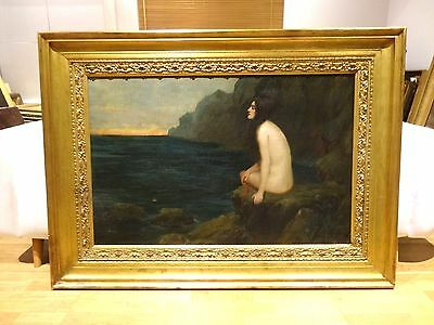 Fine Huge Circa 1900 Pre Raphaelite Classical Ariadne Nude Antique Oil Painting