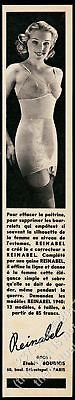 1940 Reinable lingerie woman bra girdle stockings photo French vintage print ad