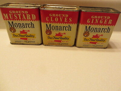3 Vintage Monarch Spice Tins Cans