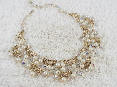 Goldtone White Bead Crystal Scalloped Swag Necklace (B30)